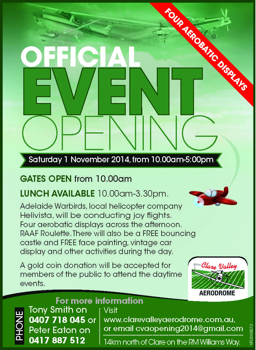 Clare Valley Aerdrome Opening Oct22